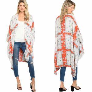 Long Sleeve Red Ivory Starfish Print Kimono Duster